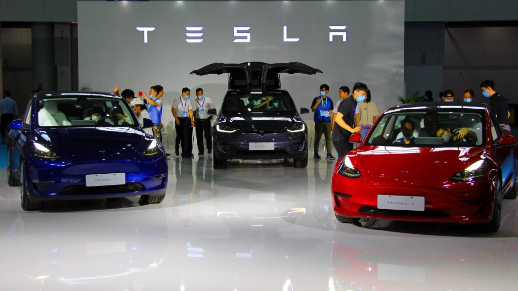 Tesla booth during the 34th International Electric Vehicle Symposium and Exhibition at the Nanjing Air-hub International Expo Center on June 25, 2021 in Nanjing, Jiangsu Province of China.