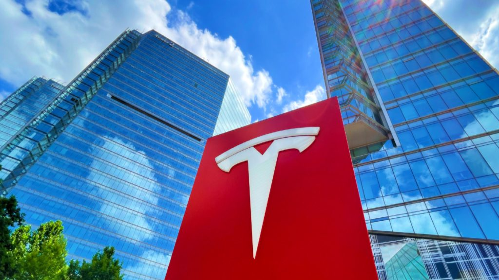 The Tesla logo is pictured at its headquarters on July 3, 2021 in Beijing, China.