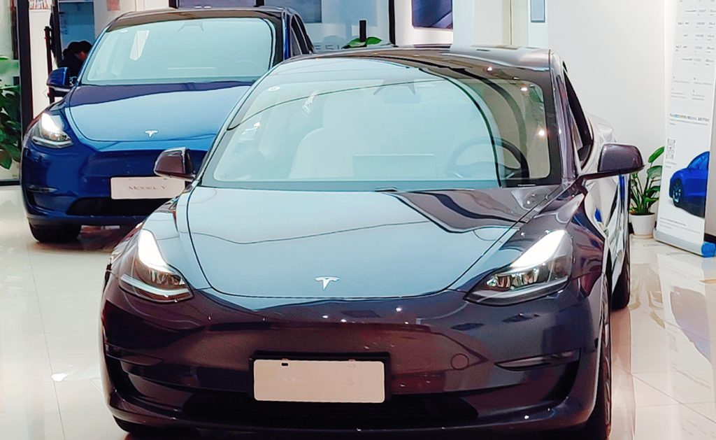 A Tesla store for new energy electric vehicles is seen in Shanghai, China, May 30, 2021.