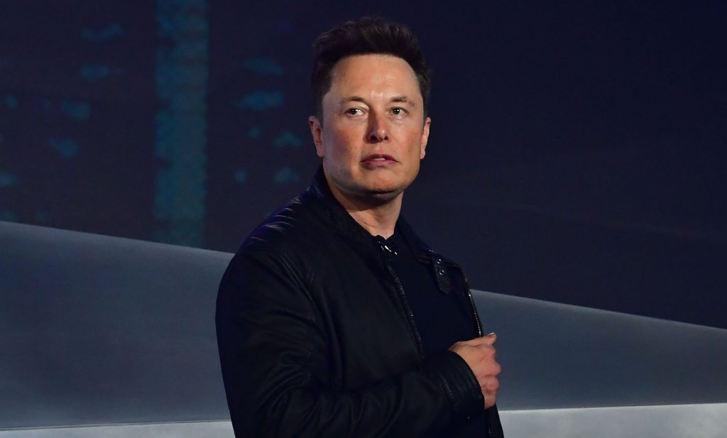 Tesla co-founder and CEO Elon Musk introduces the newly unveiled all-electric battery-powered Tesla Cybertruck at Tesla Design Center in Hawthorne, California on November 21, 2019
