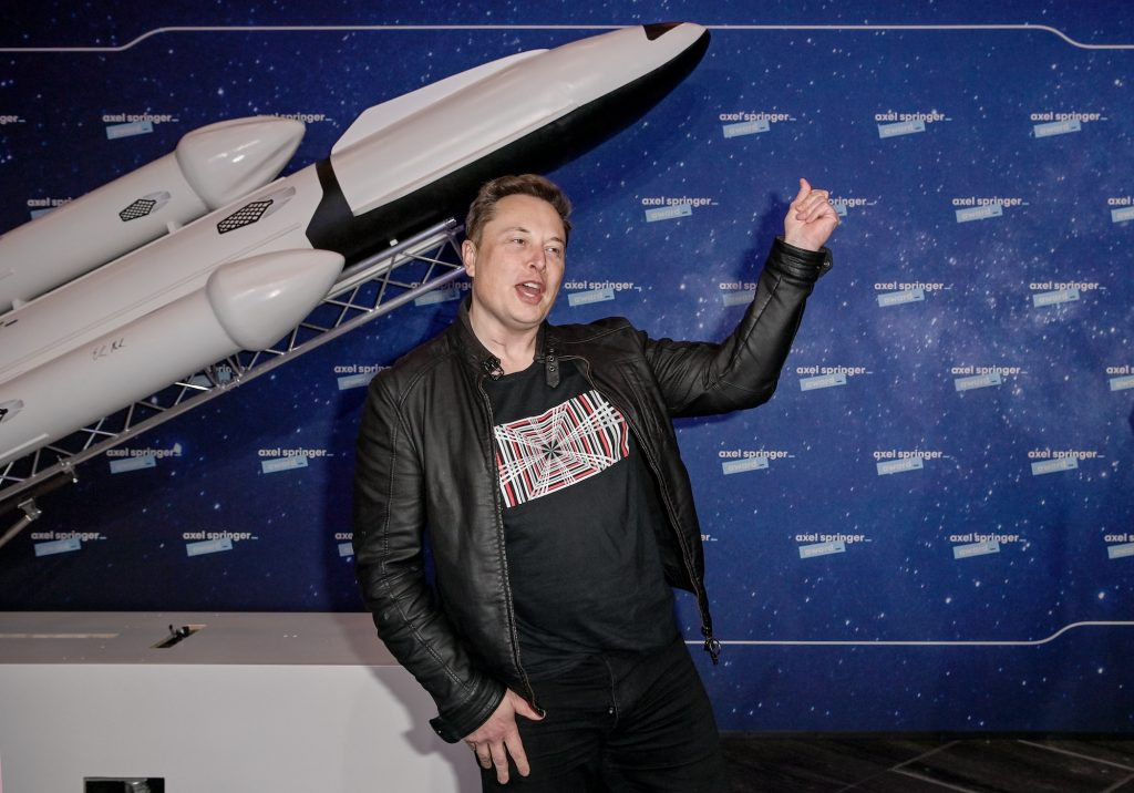 Tesla CEO Elon Musk poses on the red carpet of the Axel Springer Award 2020 in December 2020 in Berlin, Germany