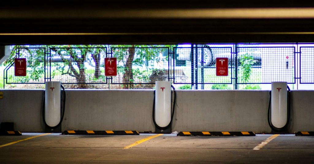 Tesla electric car chargers.