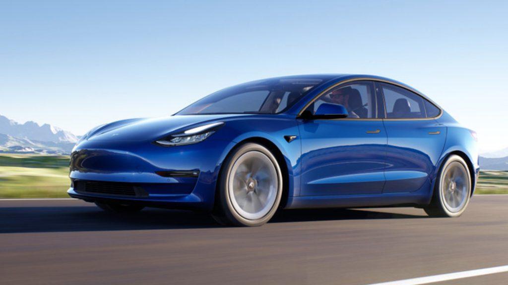 A blue Tesla Model 3 EV.