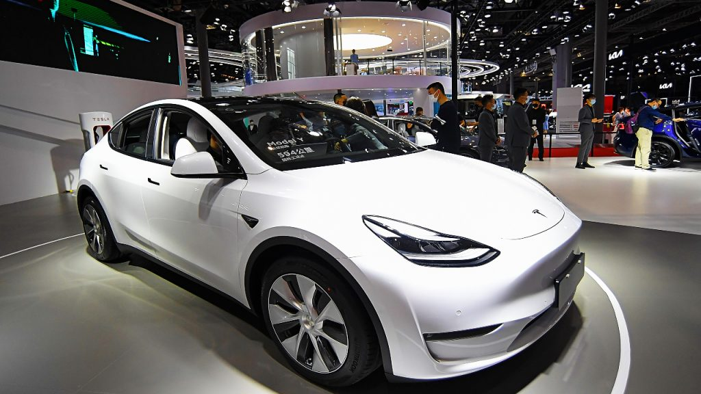 A Tesla Model Y car is on displayed during the 19th Shanghai International Automobile Industry Exhibition.