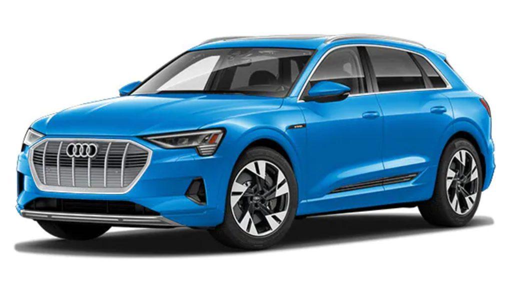 A blue Audi e-tron.