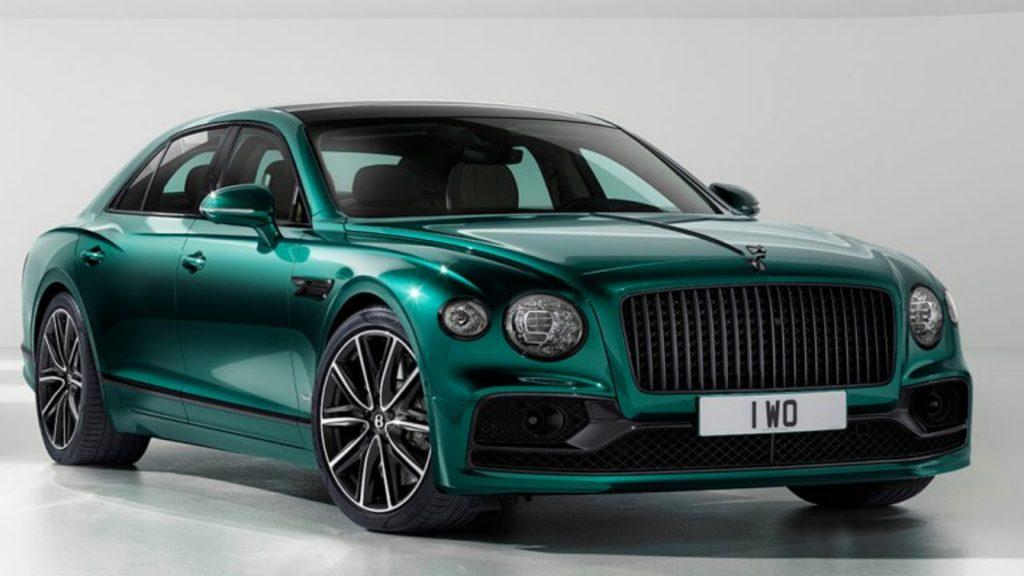 A green Bentley Flying Spur Plug-in Hybrid.