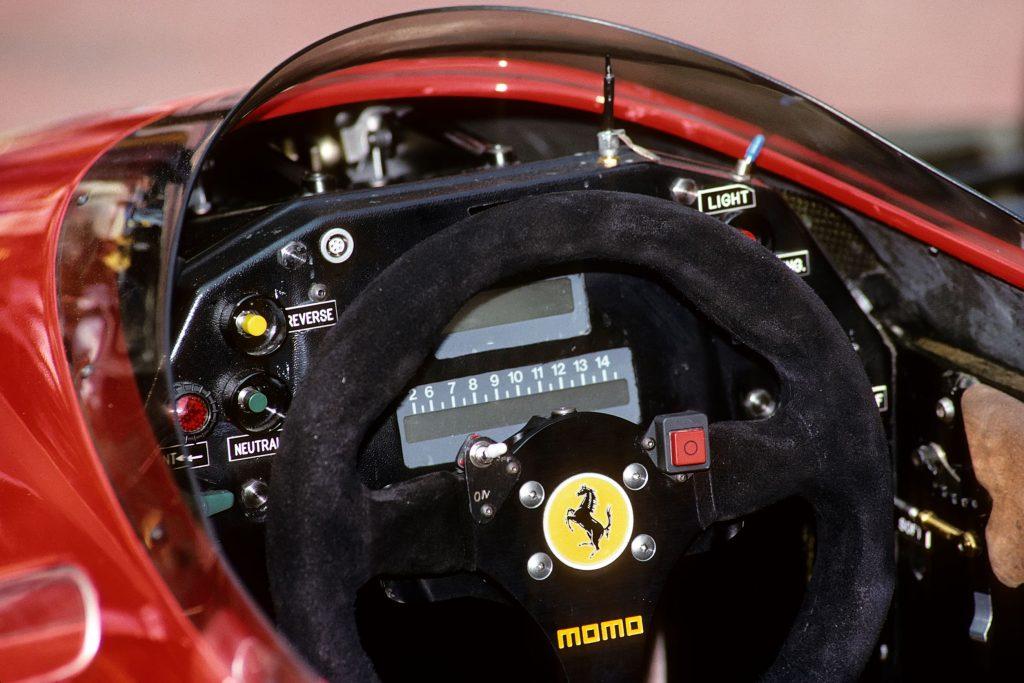 The Ferrari Type 640 F1 car's steering wheel and dashboard at the 1989 Monaco Grand Prix