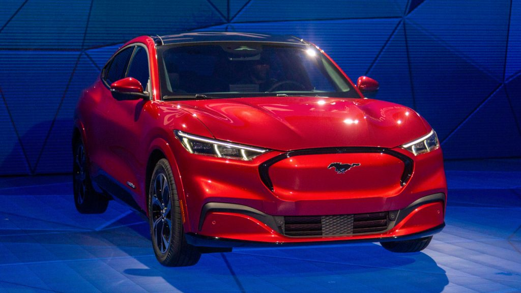 The electric red Ford Mustang Mach-E is shown at AutoMobility LA on November 21, 2019 in Los Angeles, California.