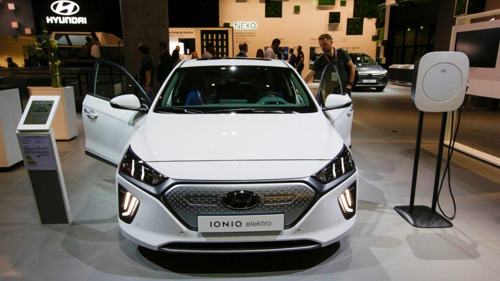 The South-Korean car manufacturer Hyundai displays the Hyundai Ioniq electric at the 2019 Internationale Automobil-Ausstellung (IAA).