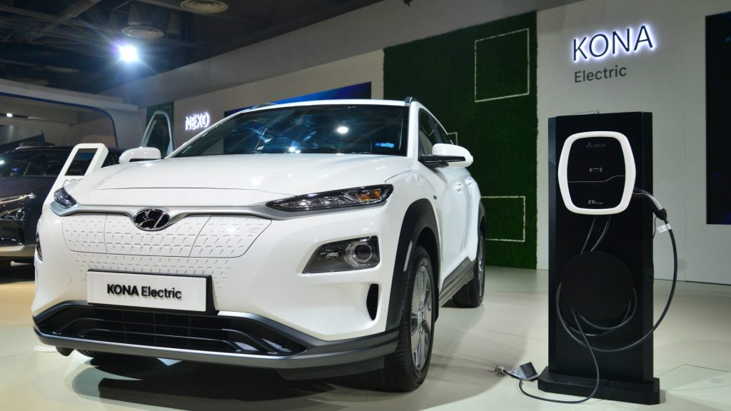 Electric Hyundai at Auto Expo 2020, on February 5, 2020, in Greater Noida, India.