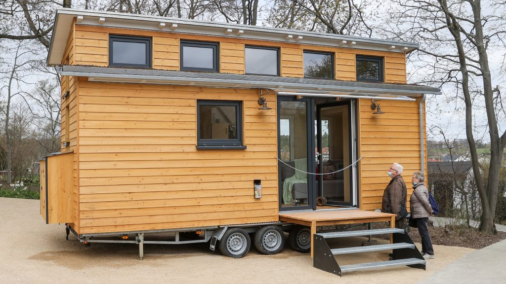 A mobile tiny house.
