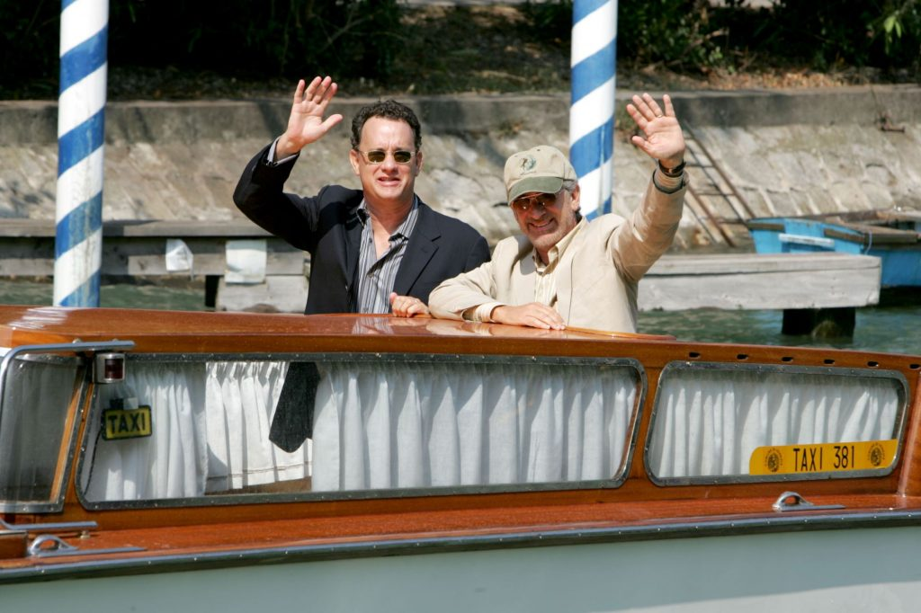 Tom Hanks and Steven Spielberg on a boat at the Venice Film Festival