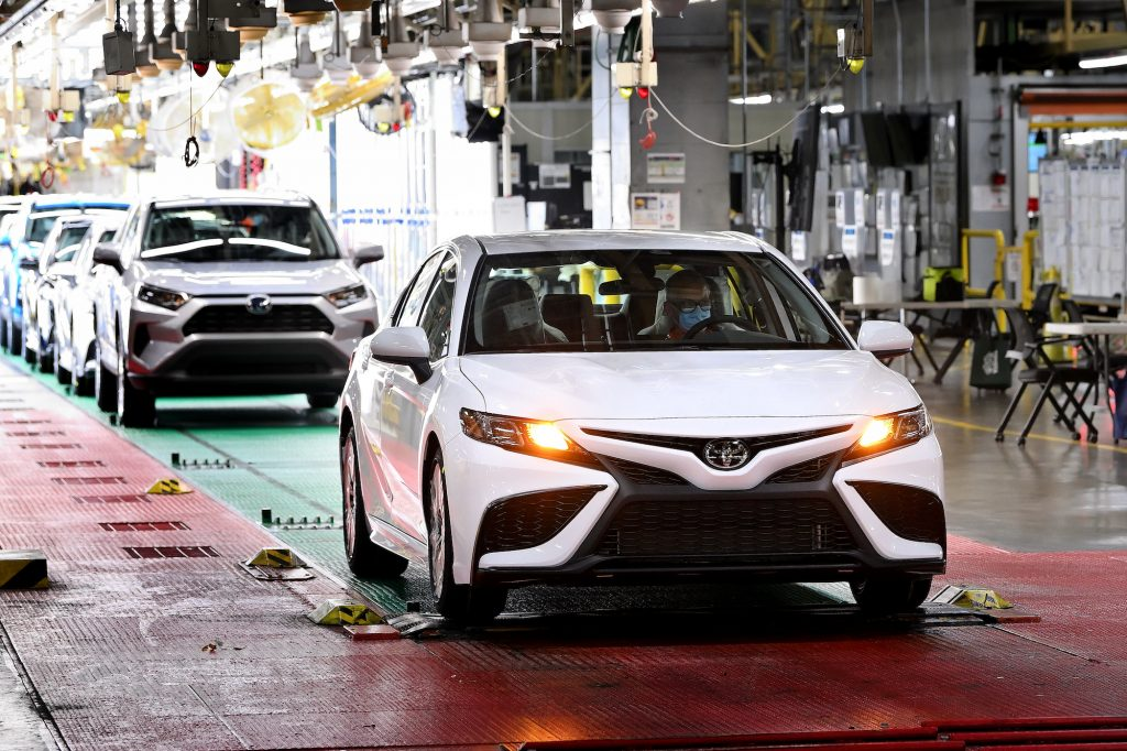 The 10 millionth Toyota Camry rolls off the assembly line at the company's Kentucky production plant in June 2021