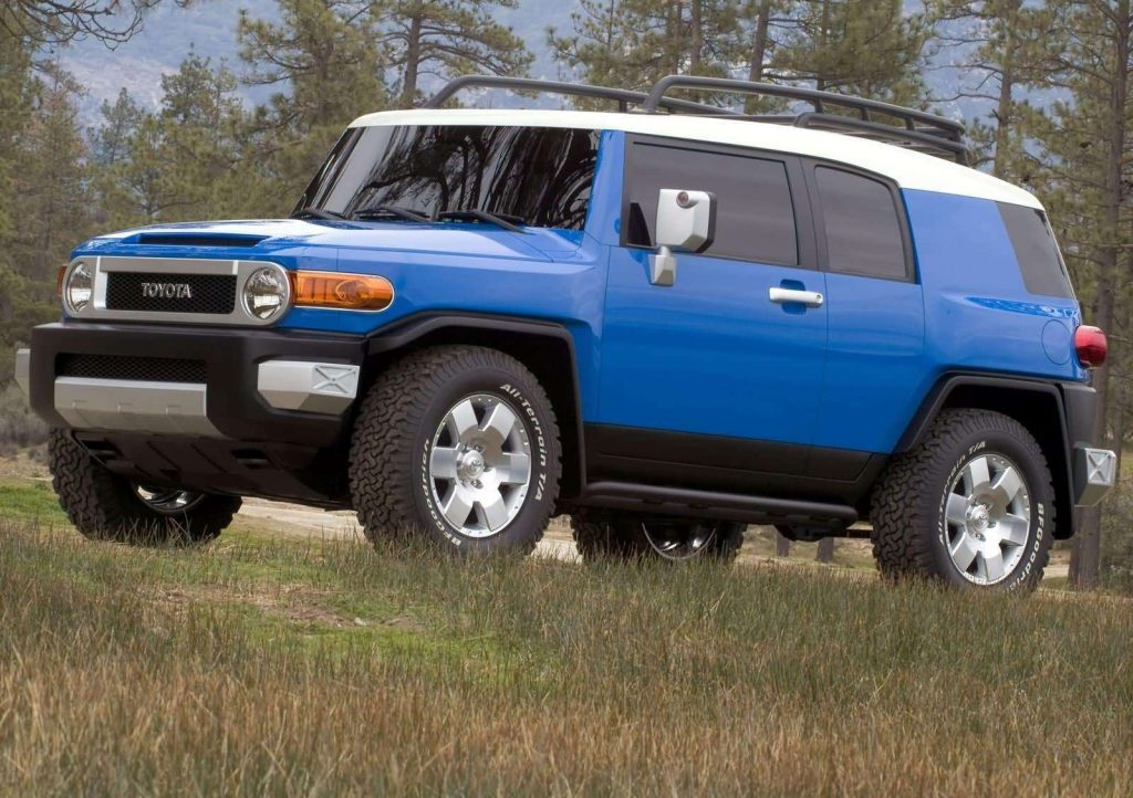 An image of a Toyota FJ Cruiser parked outdoors.