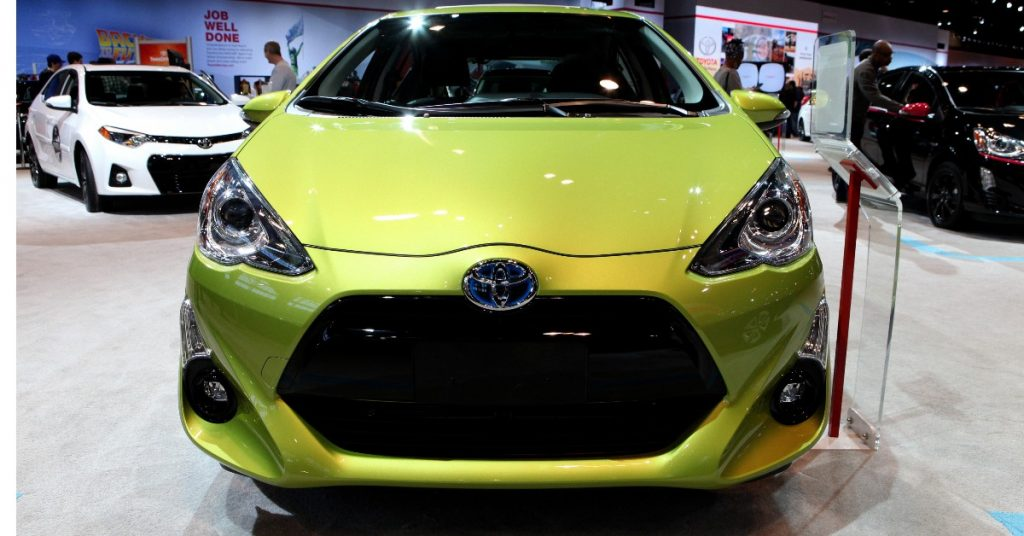 A green Toyota Prius c is on display at the 108th Annual Chicago Auto Show at McCormick Place in Chicago, Illinois on February 19, 2016.