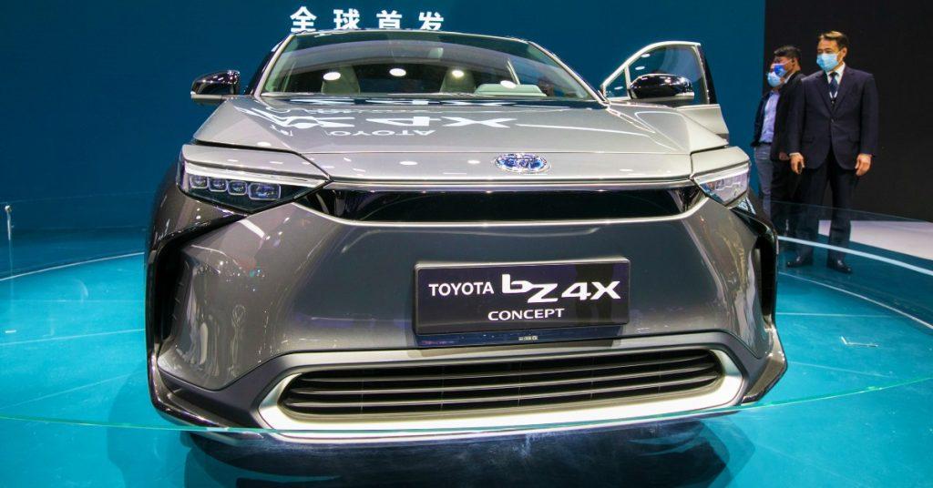A gray Toyota bZ4X.