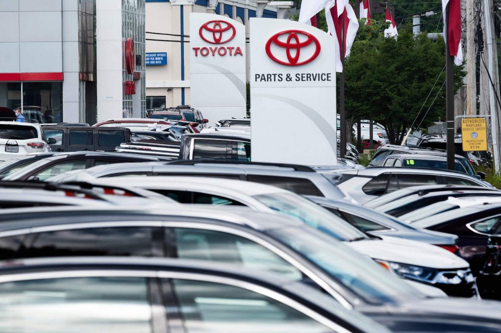 A Toyota car dealership in Annapolis, Maryland, on May 27, 2021
