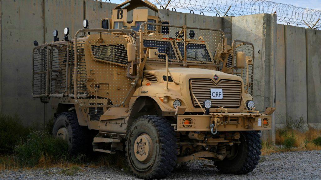 A mine resistant ambush protection vehicle.