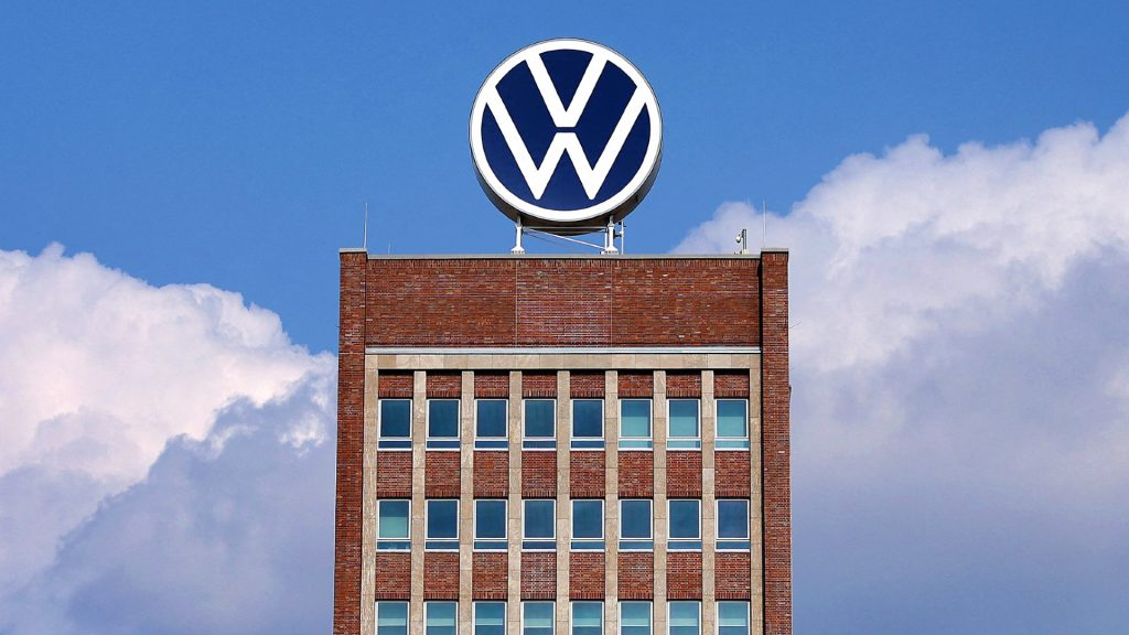 The logo of German carmaker Volkswagen (VW) is pictured on the roof of the company's headquarters in Wolfsburg, northern Germany, on March 26, 2021.