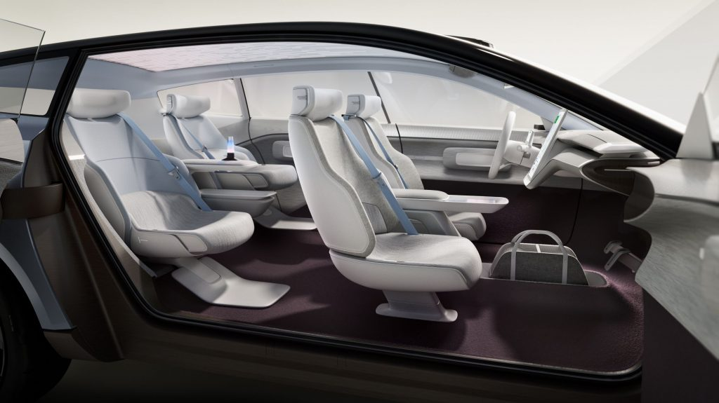 The maroon-and-gray interior of the Volvo Concept Recharge