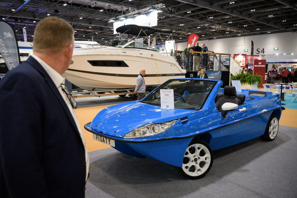A Dutton Reef amphibious car on display at the London Boat Show on January 10, 2018, in London, England