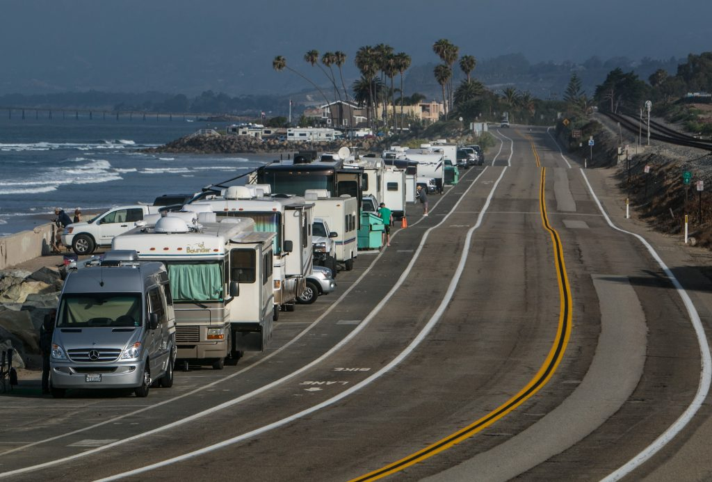 Campers parked along Pacific Coast Highway during Memorial Day weekend in 2015 near Santa Barbara, California