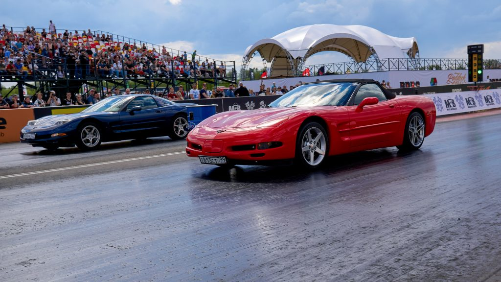 Corvettes racing on the track during the event