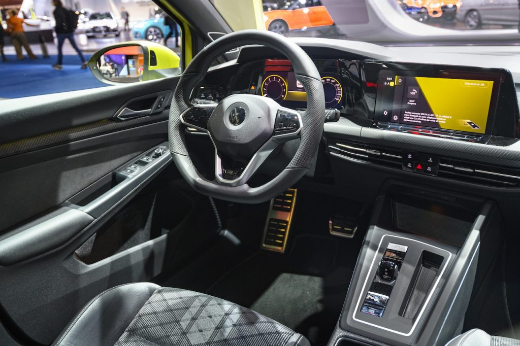 Dashboard of a newer VW vehicle equipped with several standard safety features