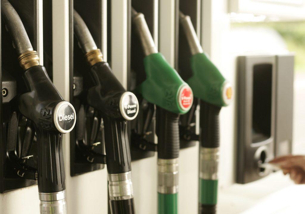 handles at a diesel fuel pump