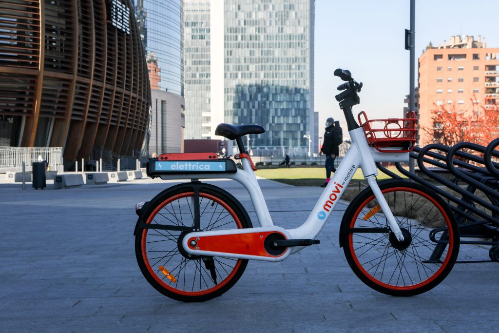 An electric bike e-bike on a bike rack