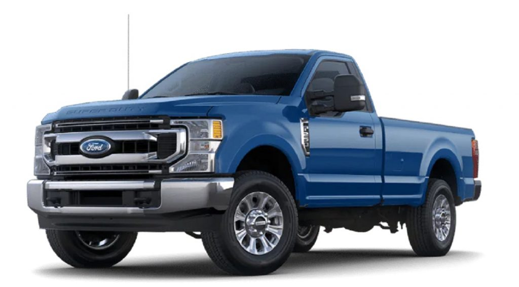 A blue 2021 Ford F-250 against a white background.