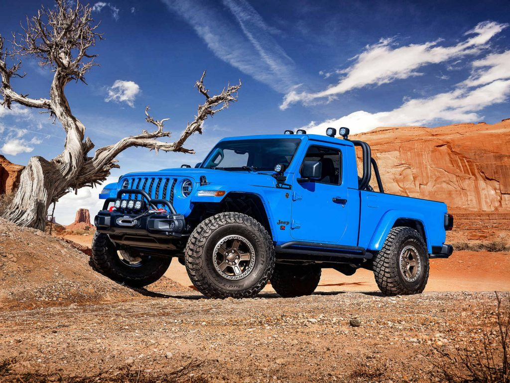 The Jeep J6 two-door truck concept in the dirt