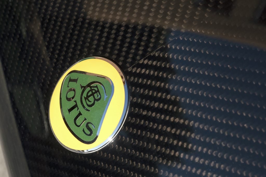 A badge of a Lotus car