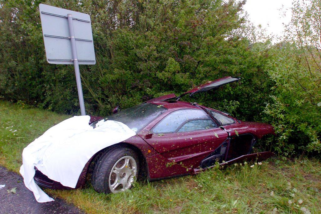 A wrecked McLaren F1 supercar