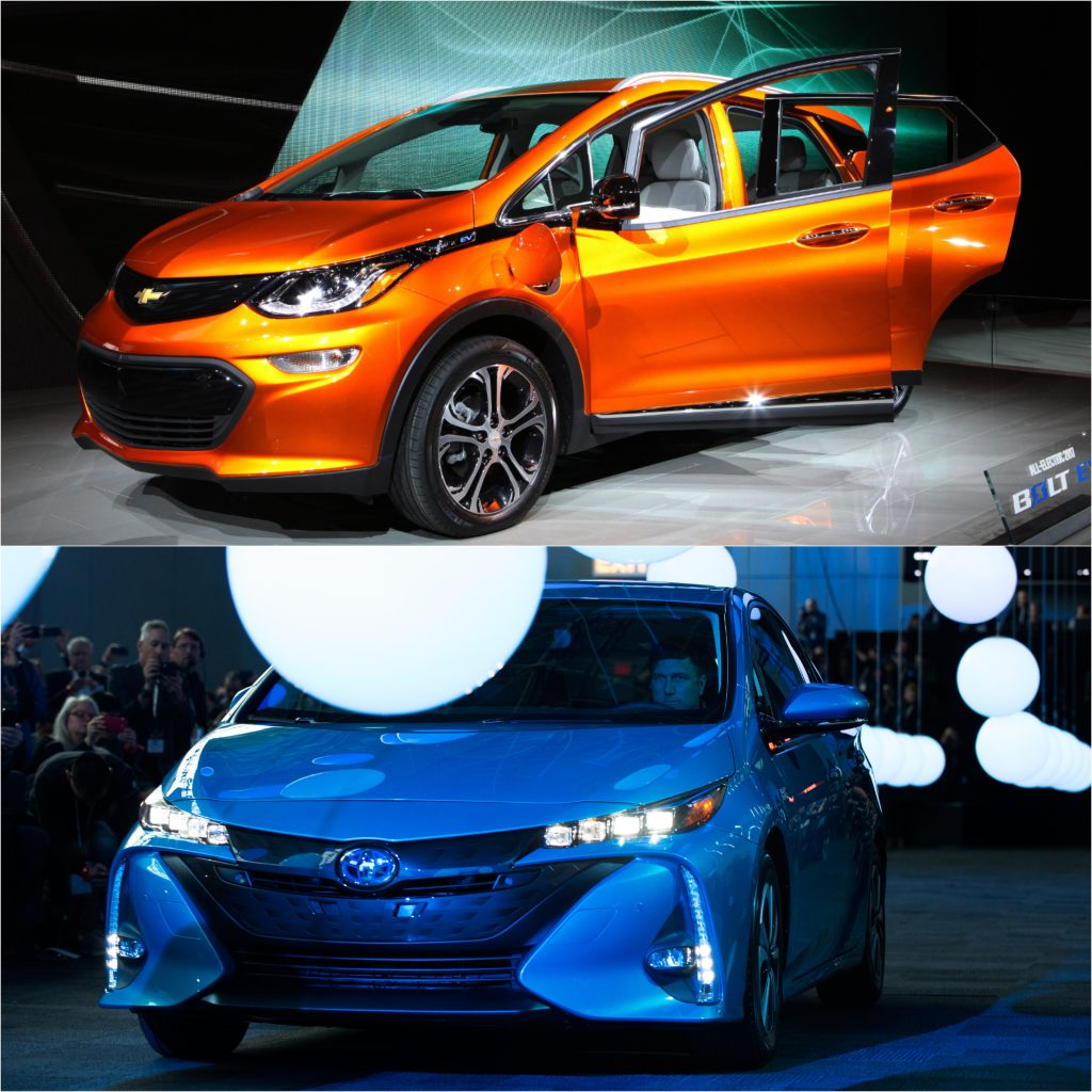 A top to bottom comparison of an Electric 2021 Chevy Bolt and a Hybrid 2021 Prius Prime