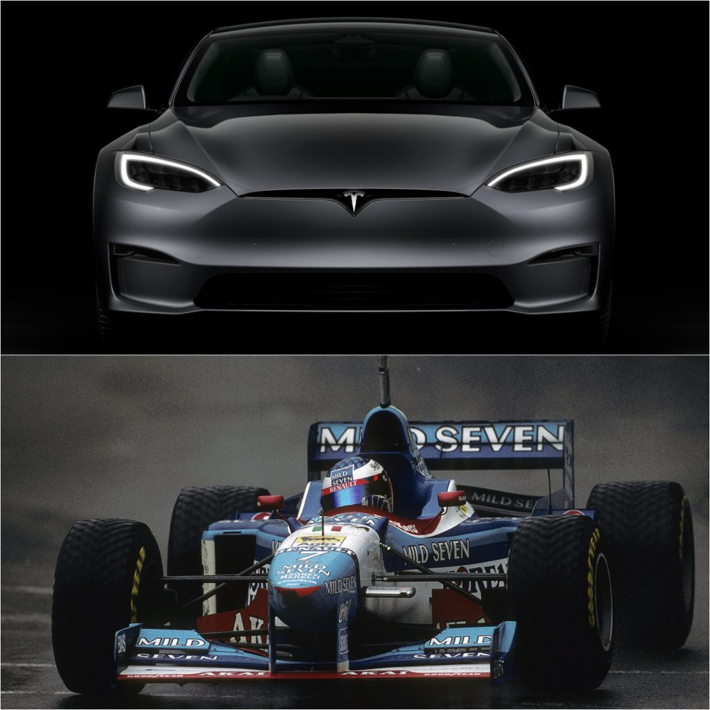 A grey Tesla Model S in the dark (top) and the Benetton B197 on the track (bottom)