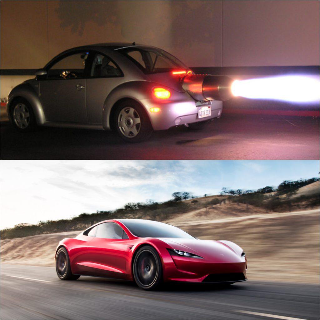 Jet Powered Beetle (Top) And Rocket Powered Tesla (Bottom)