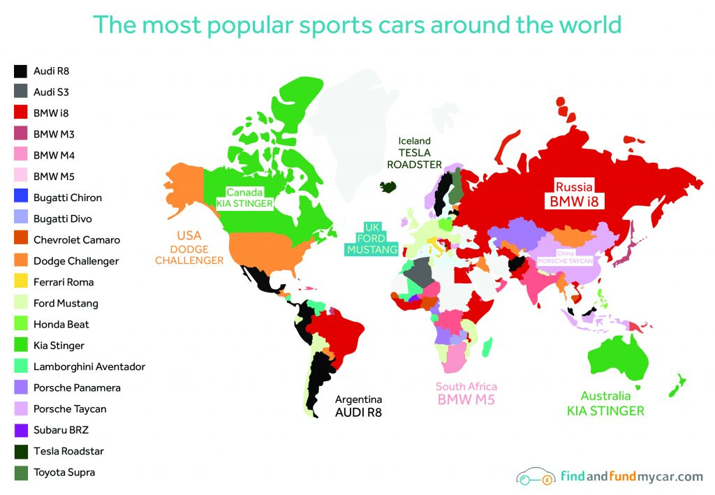 Map of the most popular sport cars around the world