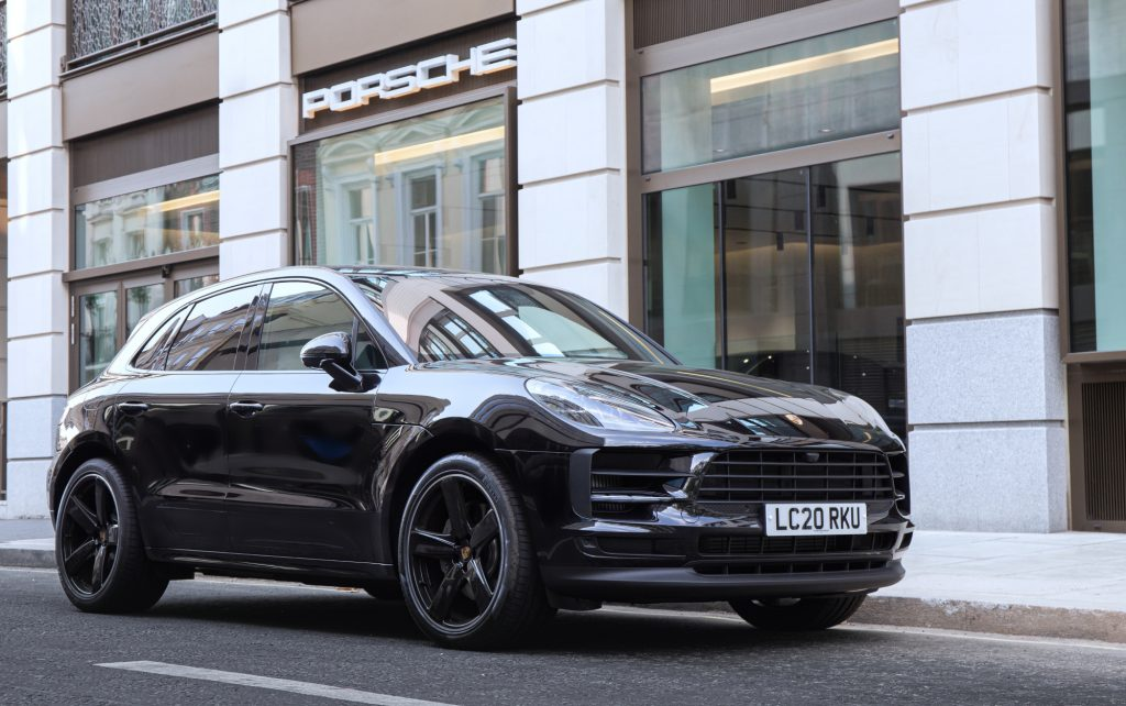 A black Porsche Macan Turbo SUV