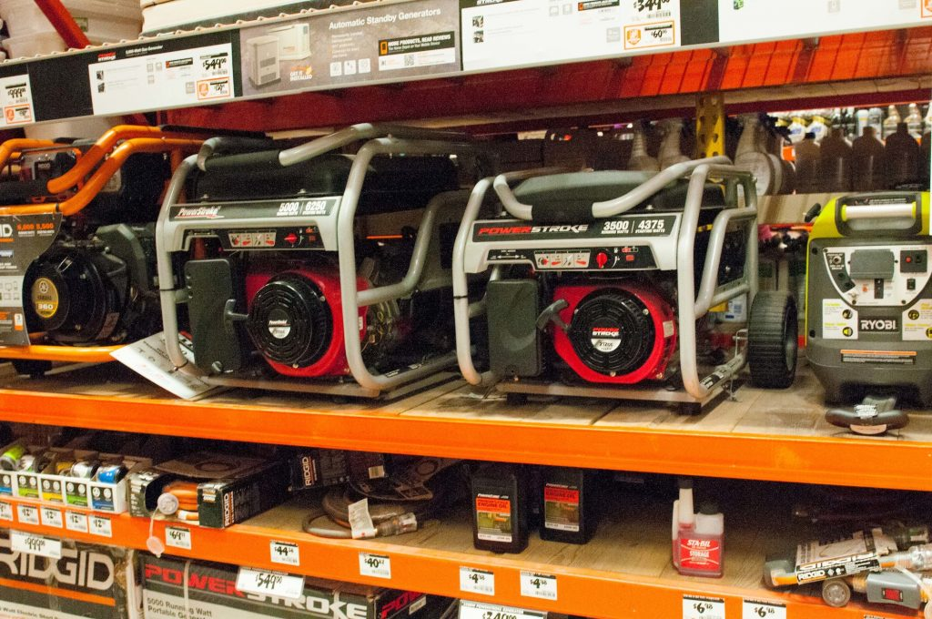 Portable generators sit on store shelves in South Florida on August 21, 2015