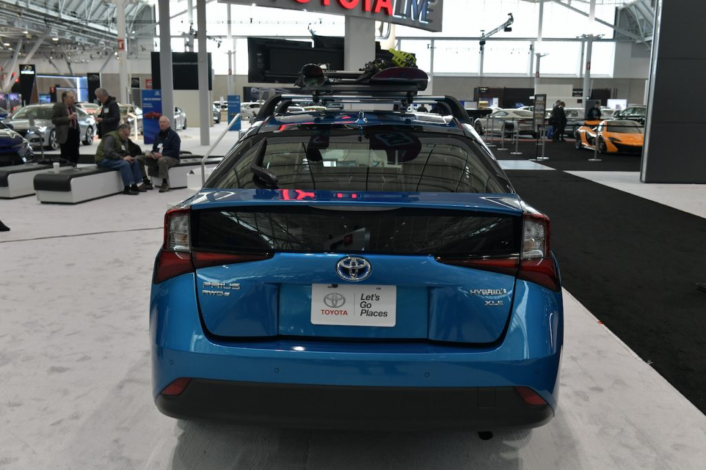 A hybrid toyota prius with all wheel drive capabilities