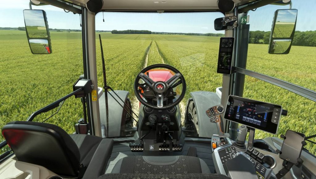 the interior view of the operator's station in a new MF 8S tractor