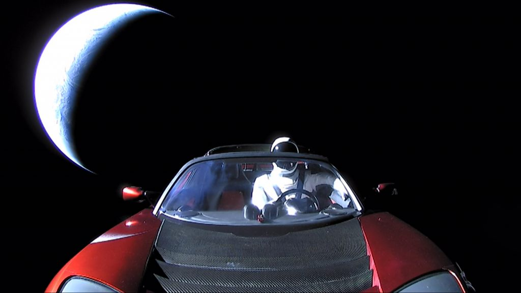 """Tesla roadster launched from the Falcon Heavy rocket with a dummy driver named """"Starman"""" heads towards Mars"""