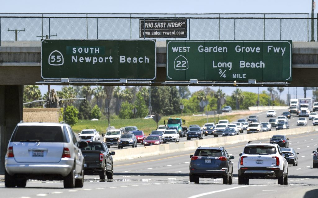 The 55 Freeway in Orange County, California, on May 27, 2021