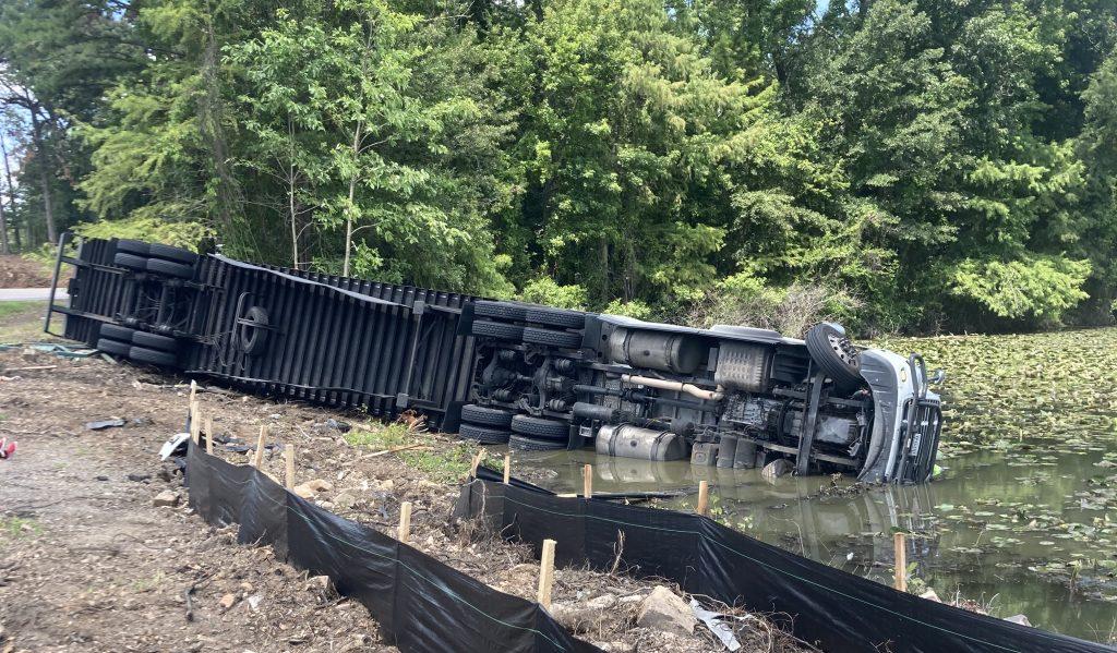 A truck carrying ramen noodles crashed