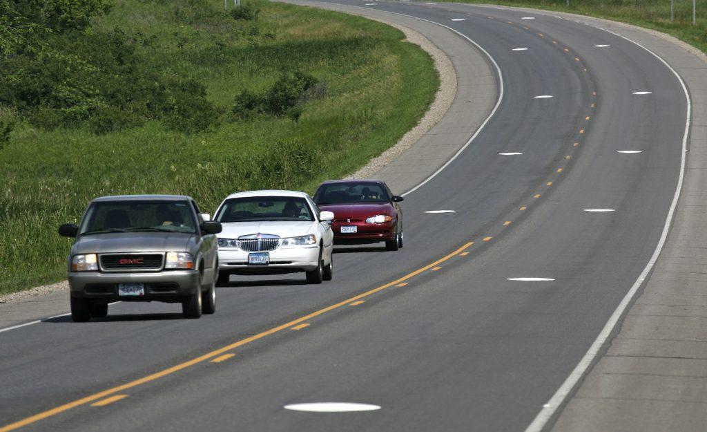 Annoying drivers tailgate on Highway 55 near Buffalo, Minnesota