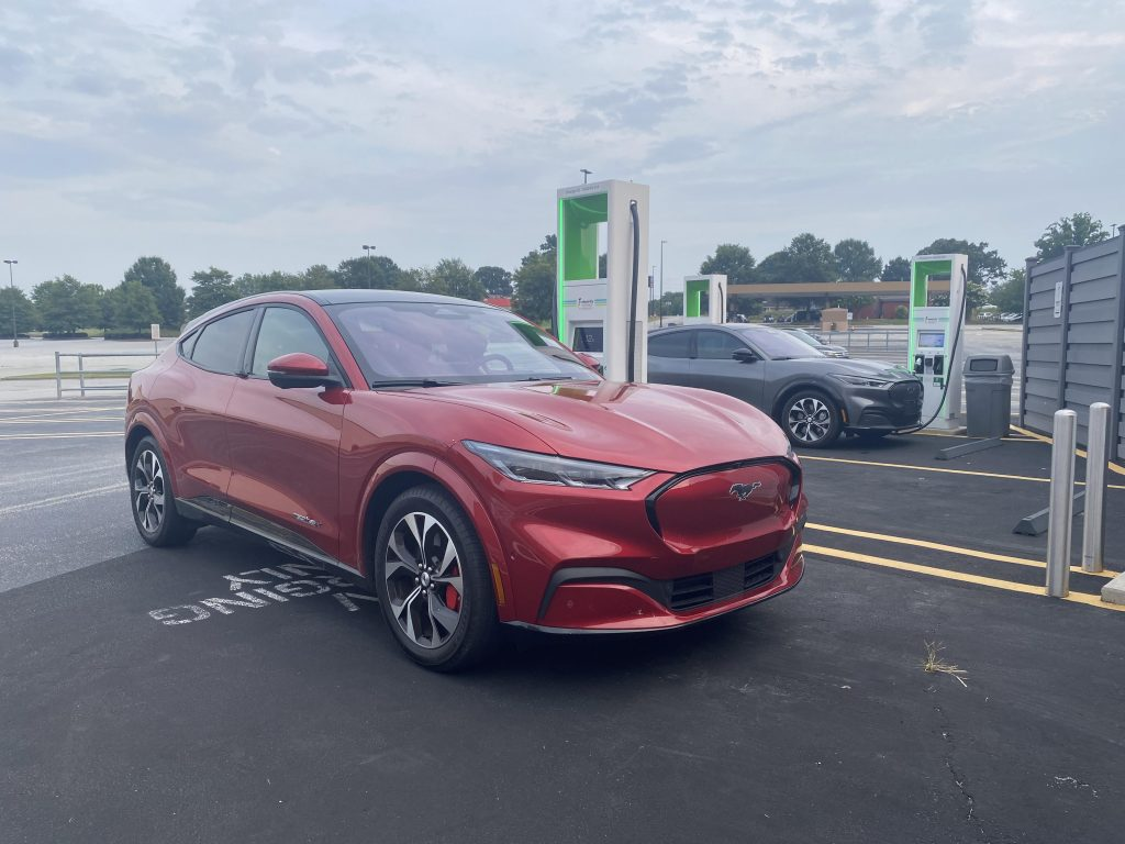 Two 2021 Ford Mustang Mach-E models charging