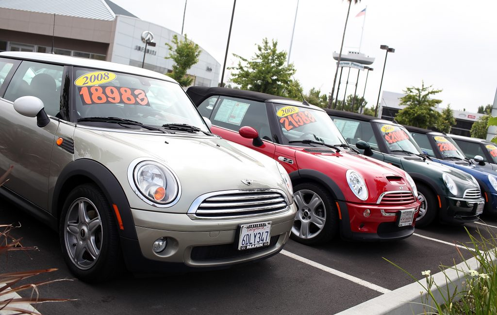 Used cars on a sales lot
