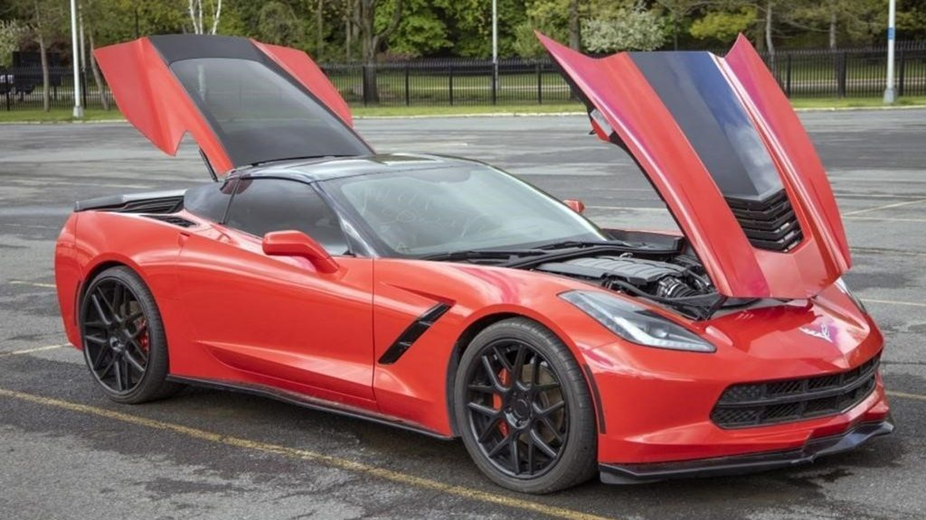 The red 2015 Corvette up for auction in New York
