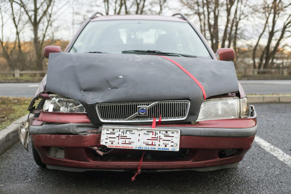 An old Volvo was damaged after a car accident.